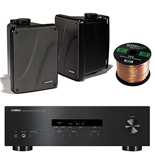 "Yamaha R-S201BL 2-Channel 200-Watt Home Audio AM/FM Radio Stereo Receiver Amplifier Bundle Combo With 4x Kicker 6.5"" Black Full Range Bookshelf Waterproof Speakers + Enrock 50 Foot 16g Speaker Wire"
