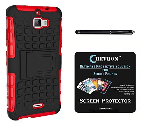 Chevron Hybrid Military Grade Dual Armor Kick Stand Back Cover Case for Coolpad Dazen 1 With HD Screen Guard & With Stylus (Red)