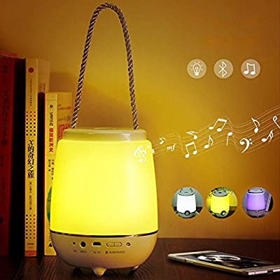 Elinkume Multifunctional Night Light,Wireless Bluetooth Speaker RGB Color Changing, Portable Touch Sensitive,Dimmable & Portable Desktop Lamp for Study/Bedroom/Indoor & Outdoor Activities from Elinkume