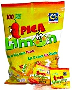 Pica Limon Polvo De Sal Y Limon Salt & Lemon Powder From Mexico 100 Pieces Sealed
