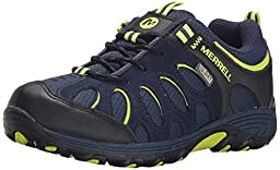 Merrell Chameleon Low Lace Waterproof Hiking Shoe (Little Kid/Big Kid), Navy/Black/Leather, 10.5 M US Little Kid