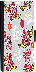 Snoogg Spring Seamless Pattern With Flowers And Ladybirds Graphic Snap On Har...