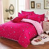 星と月の布団カバーフラットシート枕カバーセット、シングル、フクシア&ピンク
