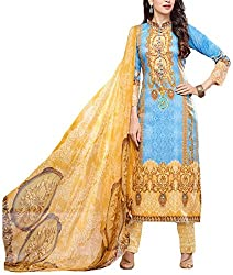 Binny Creation Women's Faux Georgette Unstitched Dress Material (Yellow)