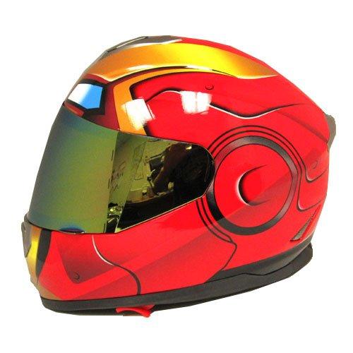 Iron Man DOT Motorcycle Bike Dual Visor Full Face Helmet Golden Red, Size XXL (61-62 CM,24.0/24.8 Inch) (Iron Man Sun Visor compare prices)