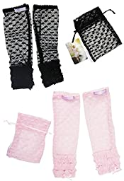 SALE Huggalugs Baby Girls 2 Pack Lacettes Lace Leg Warmers Black and Pink