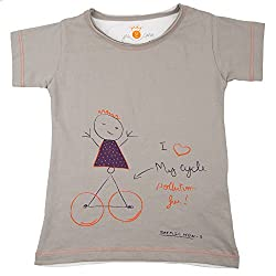 NeedyBee Baby Boys and Baby Girls T-Shirt CYCLE GIRL Organic Soft 100% Cotton Tee-Shirt for Kids for 2 - 9 Years