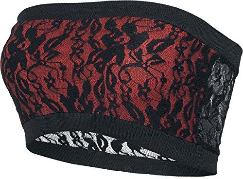 Black Premium by EMP Ladies Long Laces Bandeau Top a fascia donna nero/rosso XS