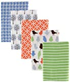 Luvable Friends 5 Count Flannel Receiving Blankets, Blue Birds and Trees