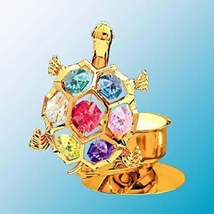 24K Gold Plated Turtle Tea Light Candle Holder - Multicolor - Swarovski Crystal