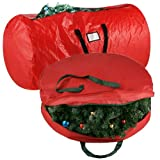 "Elf Stor Deluxe Red Christmas Tree Storage Bag & Canvas 30"" Inch Wreath Bag"