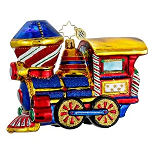 RADKO CHUGGA CHUGGA WOO WOO Toy Train Christmas Glass Ornament