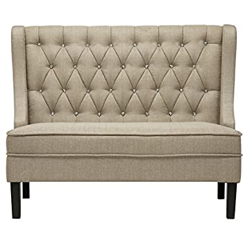 Andeworld Modern Tufted Button Back Linen-like Putty Upholstered Loveseat with Wing for Dining Room Hallway or Entryway Seating