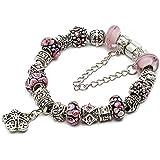 "Silver European Charm Bracelet 7.9"" Pink Murano Glass Beads Bracelets Kit 22, By eArt"
