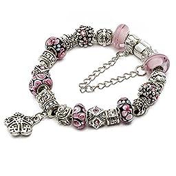 RUBYCA Silver Tone European Charm Bracelet 7.9\
