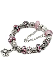 "Silver European Charm Bracelet 7.9"" Pink Murano Glass Beads Bracelets Kit 22, By eArt"