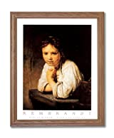 Rembrandt Victorian Girl Desk Portrait Home Decor Wall Picture Oak Framed Art Print
