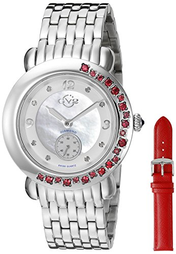 GV2-by-Gevril-Womens-9890-Marsala-Gemstone-Analog-Display-Swiss-Quartz-Silver-Watch