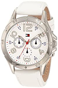 Tommy Hilfiger Women's 1781177 White Multi-Eye Dial Leather Strap Watch