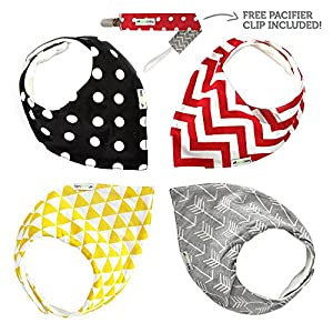 Bandana Bibs - 4 Pack, Unisex - FREE Pacifier Clip Included - SavvyBaby Soft Cotton, High Quality Baby Bandana Drool Bibs with Nickel-Free Snaps and Fleece Backing - Perfect Baby Shower Gift for Boys & Girls
