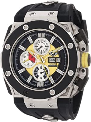 GV2 by Gevril Men's 8803 Corsaro Round Automatic-Chronograph Day-Date Sapphire Crystal Yellow Dial Rubber Water-Resistant Watch
