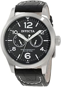 Invicta Men's 0764 II Collection Black Dial Black Leather Watch