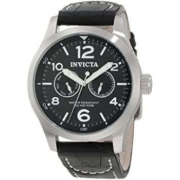 The Invicta Men's II Black Dial Black Leather Watch offers retro style with modern, precise timekeeping. The circular, black dial displays white, bar-shaped hour indexes, and large, Arabic numeral hour index at twelve, two, four, six, eight and ten o...