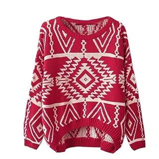 Zeagoo Women's Geometric Knitted Sweater Loose Pullover Outwear Red