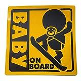 BABY ON BOARD 赤ちゃん 乗車中 ( 12cm マグネット ステッカー スノーボーダー )