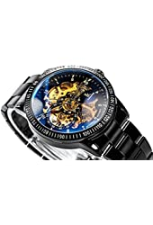 GuTe Casual Mens Black Steel Skeleton Automatic Mechanical Coated Glass Wristwatch Golden Dial