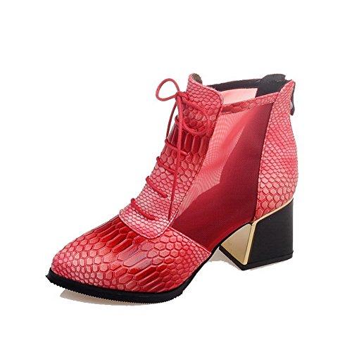 VogueZone009 Donna Cerniera Scarpe A Punta Tacco Medio Bassa Altezza Stivali con Metallo, Rosso, 39