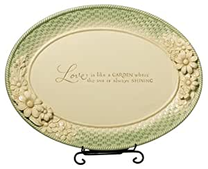 Grasslands Road Fresh Cuts 13-1/2-Inch Oval Tray with Silver Plated Stand