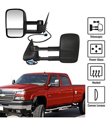 2003-2006 Chevy Silverado / GMC Sierra Towing Mirrors Pair Set Power Heated Glass With Convex Lens Telescoping Pickup Truck Side View Mirrors (2003 Chevy Truck Tow Mirrors compare prices)