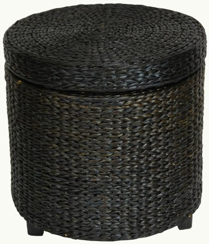"Most Affordable Low Price End Table - 17"" Woven Water Hyacinth Rattan Style Round Lidded Foot Stool Basket - Black"