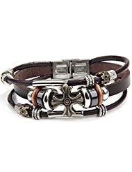 O.R.®(Old Rubin) Leather Bracelet Vintage Leather Bracelet 3-Strand Bead Chain & Genuine Leather Adjustable Wristband...