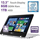 2017 Newest ASUS 13.3'' 2-in-1 Touchscreen FHD (1920 X 1080) Laptop PC, 7th Intel Core I5-7200u, 6GB DDR4 SDRAM, 1TB HDD, Backlit Keyboard, Built-in Fingerprint Reader, HDMI, Bluetooth, Windows 10