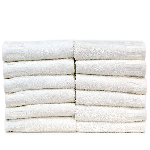 Bare Cotton Luxury Hotel & Spa Towel Turkish Cotton Wash Cloths,White, Piano, Set of 12 (Luxury Hotel Wash Cloth compare prices)