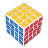Cube Magique 4x4 Blanc 4x4x4 Speed cube Professionnelle Record du monde de vitesse Cube Puzzle 6-Couleur 6.3cm avec Base de Support