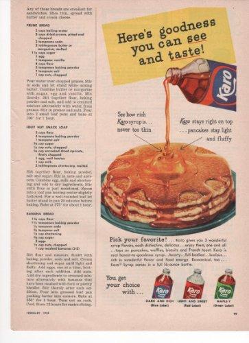 karo-corn-syrup-pancakes-breakfast-kitchen-home-1953-farm-antique-advertisement