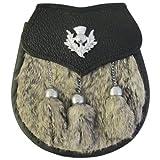 Tartanista Mens Scottish Sporran With Thistle Badge & Grey Rabbit Fur