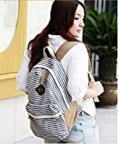 Signpost Cute Fashion Women Ladies Girls Rucksack Backpack Canvas Blue Stripe Leisure Travel Book Bag *Black and Blue*