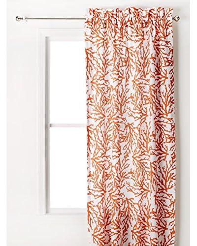 Coral Drapery Panel, Coral/White