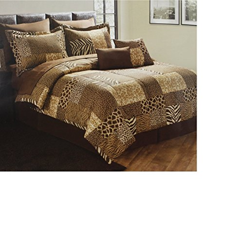 8 Pc Zebra/Giraffe/Leapord Patchork Comforter Set Bed In A Bag Twin Xl Size Bedding By Plush C Collection