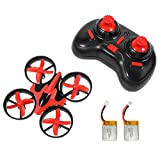 NIHUI Mini Quadcopter Drone RTF Helicopter UFO Drone with GYRO 2.4G 4CH 6 Axis AR Drone Flying RC Copter with LED Lights, Remote Control and Wind Propeller - Red (2 Battery)