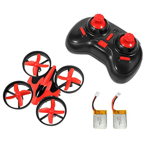 NIHUI Mini Quadcopter Drone RTF Helicopter UFO Drone with GYRO 2.4G 4CH 6 Axis AR Drone Flying RC Copter Toy Headless Nano Quadcopter LED Lights Remote Control with Wind Propeller - Red (2 Battery) (Advanced Remote Helicopter compare prices)