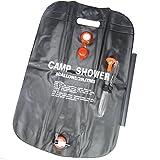 ソーラー ポータブルシャワー 20L 2個セット キャンプ 温水 シャワー (ブラック 2個セット)