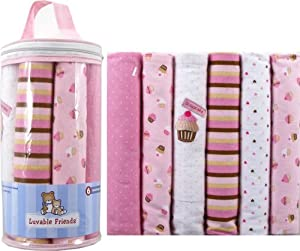 Luvable Friends 6-Pack Flannel Receiving Blankets, Pink