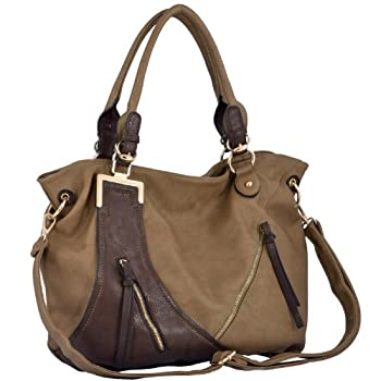 Modern flair and classic elegance come together in beautiful harmony to create this stylish yet sensible dual tone handbag purse. By combining classic color with a sleek, understated design and a trendy hobo bag shape, this versatile bowler satchel b...
