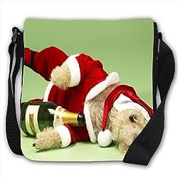 Small Dog In Santa Costume Champagne Bottle Small Black Canvas Shoulder Bag / Handbag from Snuggle