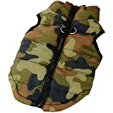 Color You Army Green Camouflage Warm Pet Puppy Dog Winter Clothes Soft Padded Vest Harness Coat Jacket (S Size)